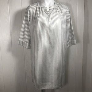 NWOT Amour Vert Striped Shirt Dress M Cream & Blue